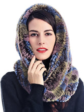 Load image into Gallery viewer, Knitted rex rabbit infinity scarf with hood