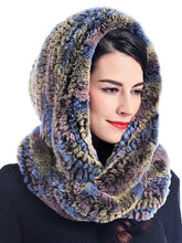 Knitted rex rabbit infinity scarf with hood