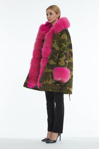Camouflage fox parka with hood