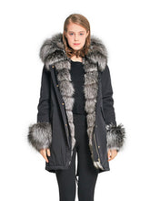 Silver fox parka with hood