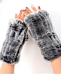 Knitted rex rabbit finger-less gloves