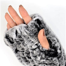 Load image into Gallery viewer, Knitted rex rabbit finger-less gloves