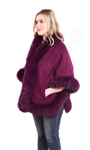Cashmere blend cape with fox trim