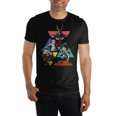 MHA My Hero Academia Graphic Men's Black T-Shirt Tee Shirt