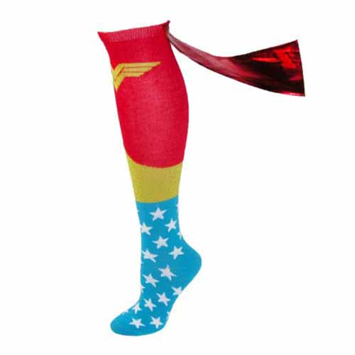 Wonder Woman DC comics Super Hero Knee High Shiny Red Caped Socks