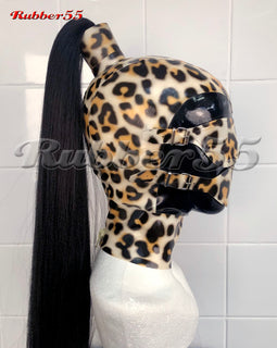 Patterned 55 Bondage Ponytail Hood