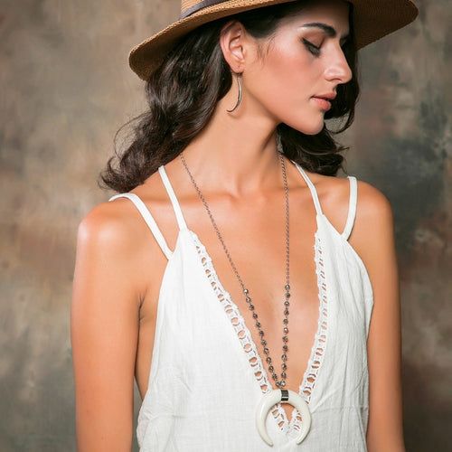 Boho White Horn Pendant Necklace