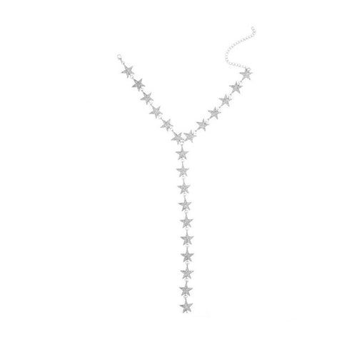 Crystal Rhinestone Star Choker Long Pendant Necklace