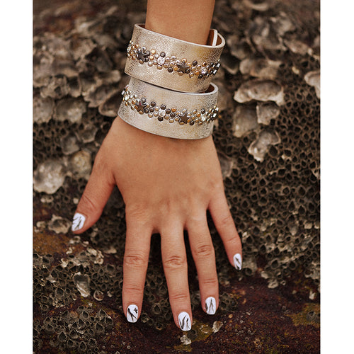 Bohemian faux leather cuff