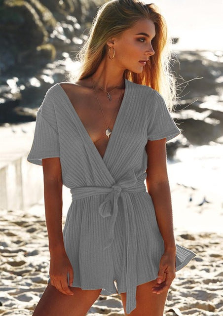 Sexy V-neck Belted Playsuit