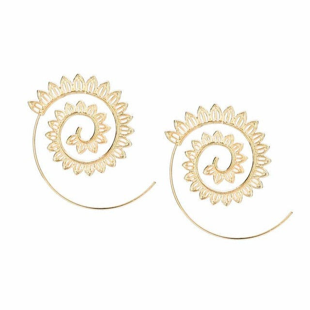 Spiral Pierced Earring Decorative Gold and Silver Round Leaf