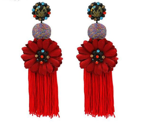 Long Tassel Flower Earrings