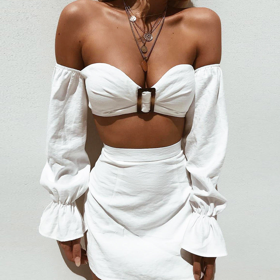 White Ruffle Sleeve Crop Top and Skirt