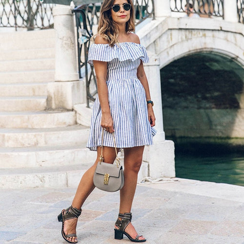 Blue White Striped Summer Dress