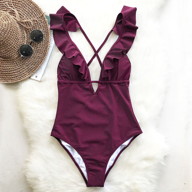 Burgundy One-piece Swimsuit