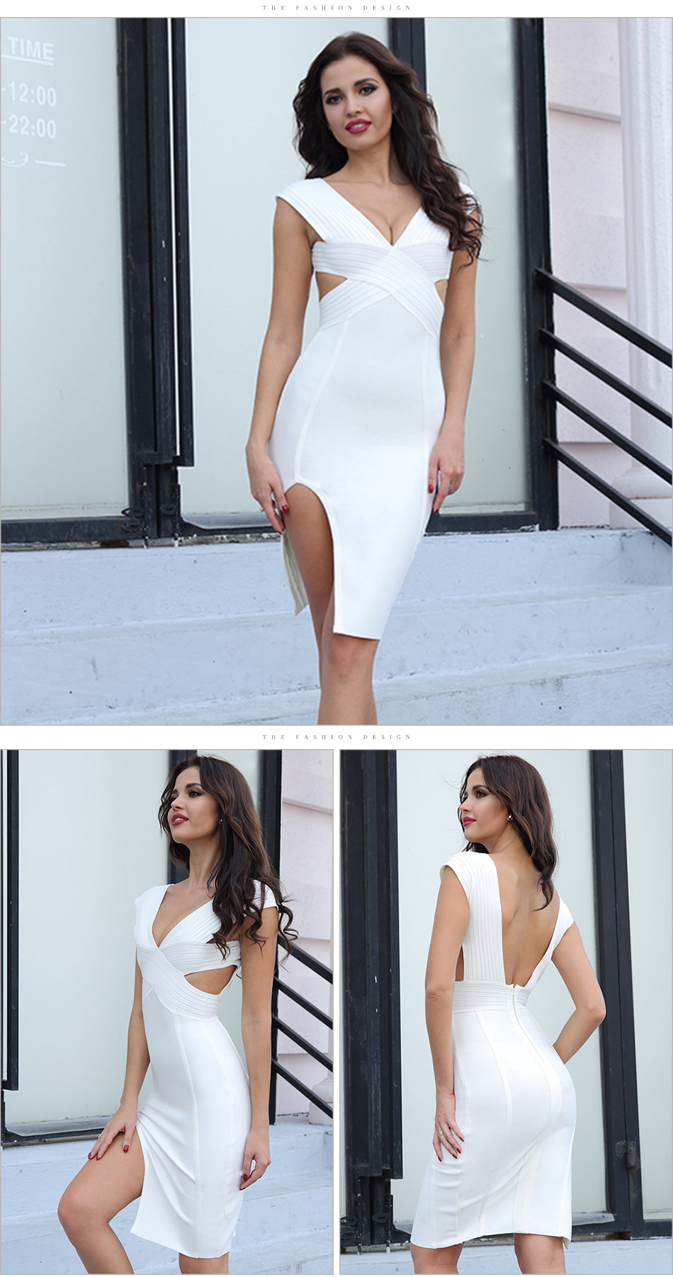 V-Neck Cut Out Bandage Dress