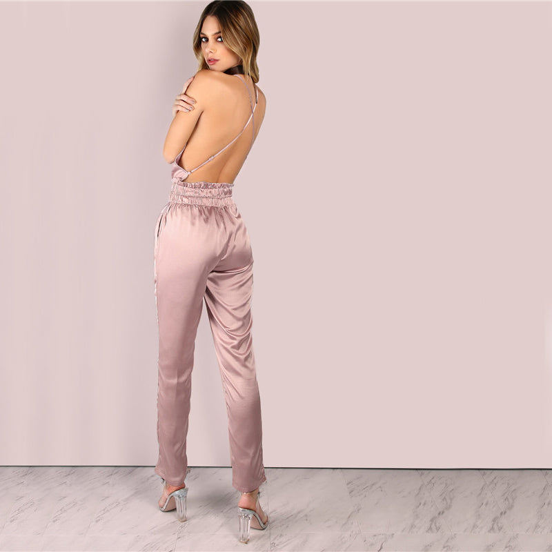 Pink Satin Jumpsuit