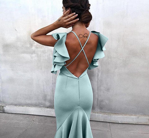 Butterfly Sleeveless Backless Mermaid Dress