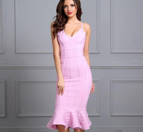 Pink Spaghetti Strap Mermaid Dress