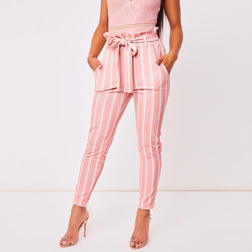 Pink Striped High Waist Pants