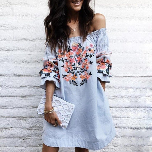 Off the Shoulder Lantern Sleeve Dress