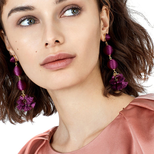 Triple Ball Drop Tassel Earrings