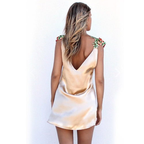 Gold Floral Mini Dress