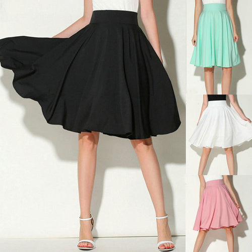 Solid Flared Retro Casual Knee Length Pleated Skirt