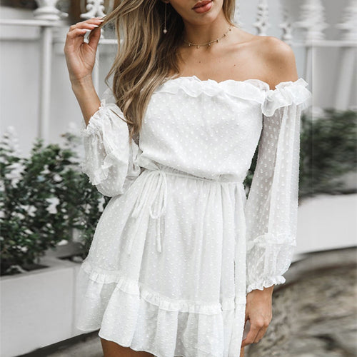 Elegant Party White Dress Long Sleeve Ruffle Solid Chiffon