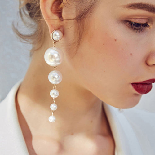 White Round Pearl Pendant Earrings