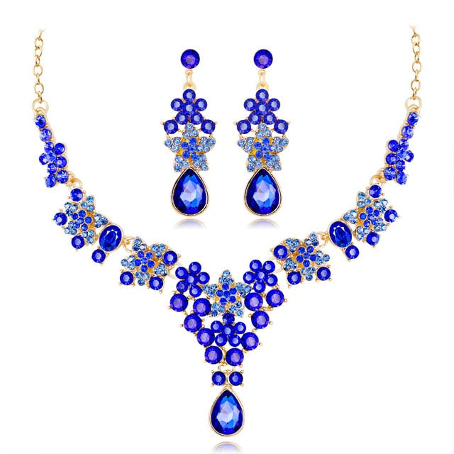 Luxury Crystal Necklace Drop Earrings Pendant