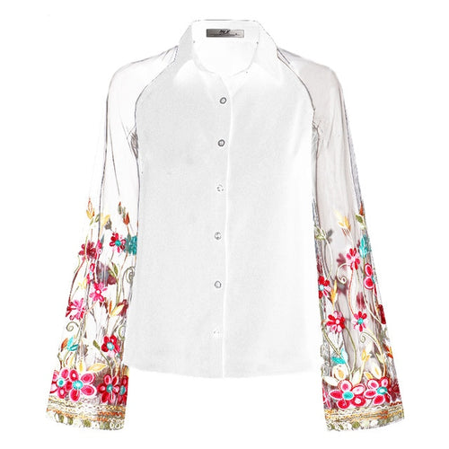 Vintage Floral Embroidery Mesh Blouse