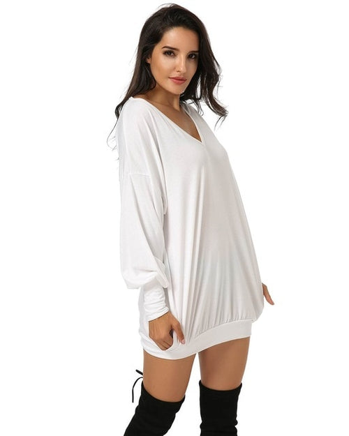 Casual Solid Pullover V-Neck Loose Short Dress
