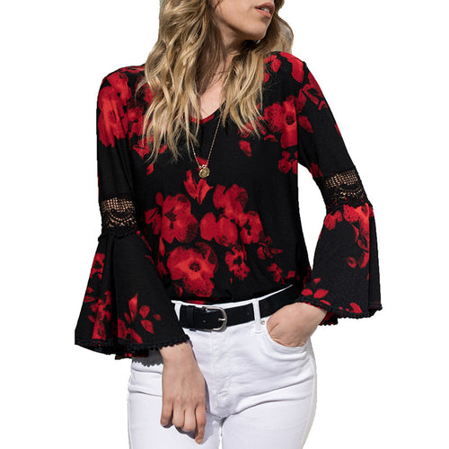 Floral Flare Long Sleeve Blouse