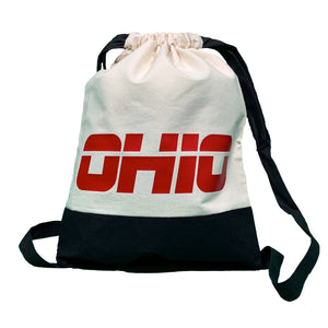 OhioTRUE Destination Drawstring Backpack Filled