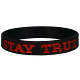 Black and Red Stay TRUE Wristband