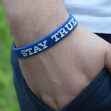Blue and White Stay TRUE Wristband Lifestyle