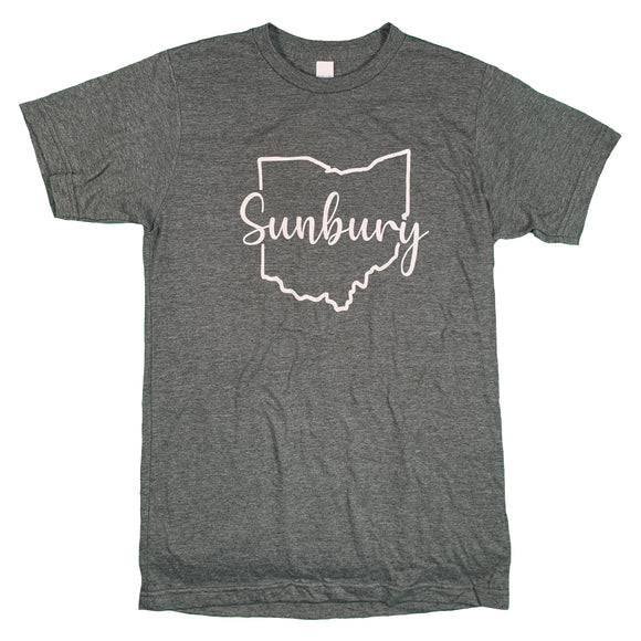 Sunbury Script gray tee shirt by OhioTRUE