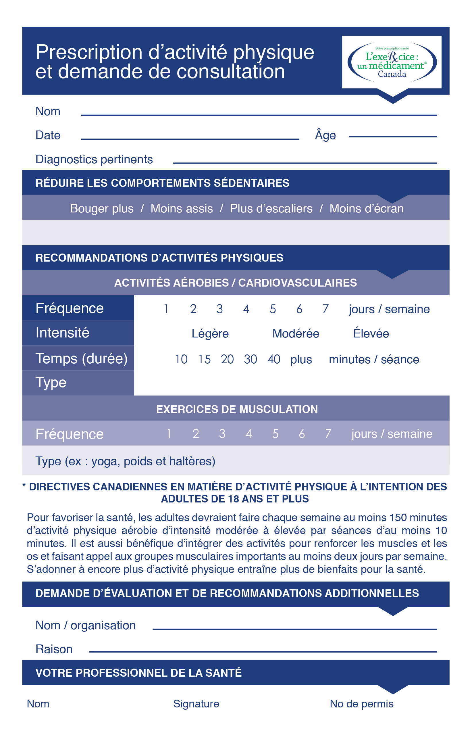 EIMC Exercise Prescription and Referral Tool