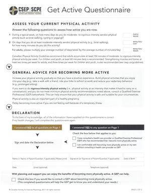 Get Active Questionnaire tear sheets
