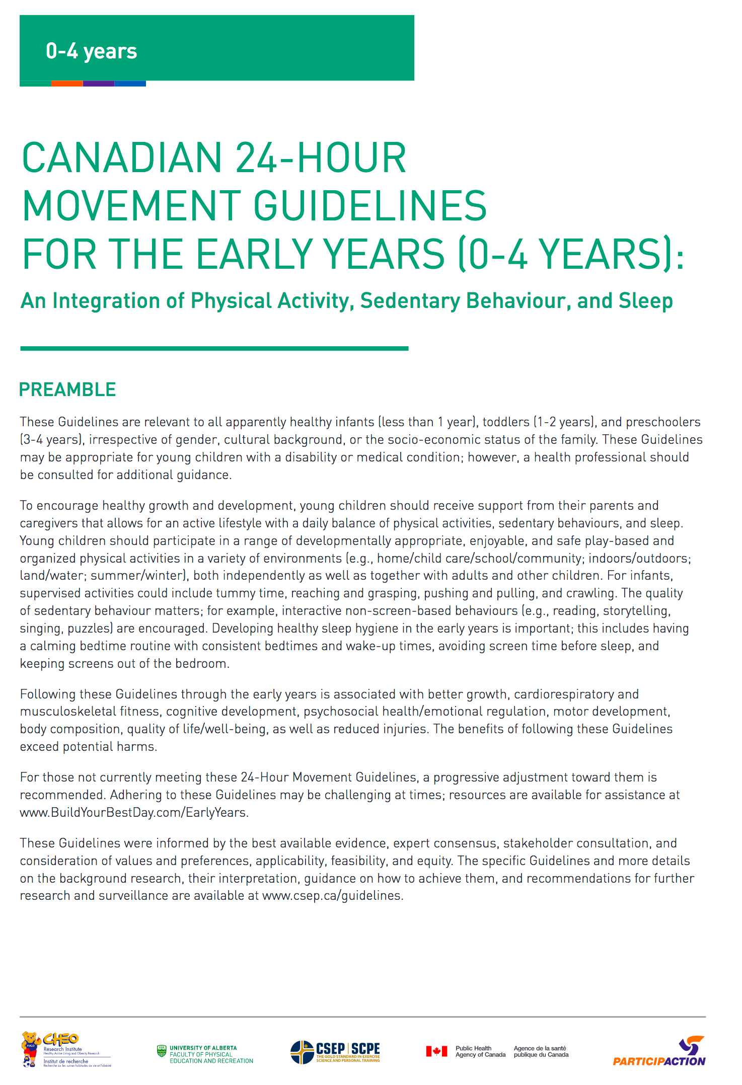 Canadian 24-Hour Movement Guidelines for the Early Years: Tear Sheets