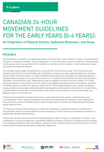 Canadian 24-Hour Movement Guidelines for the Early Years (0-4): Tear Sheets