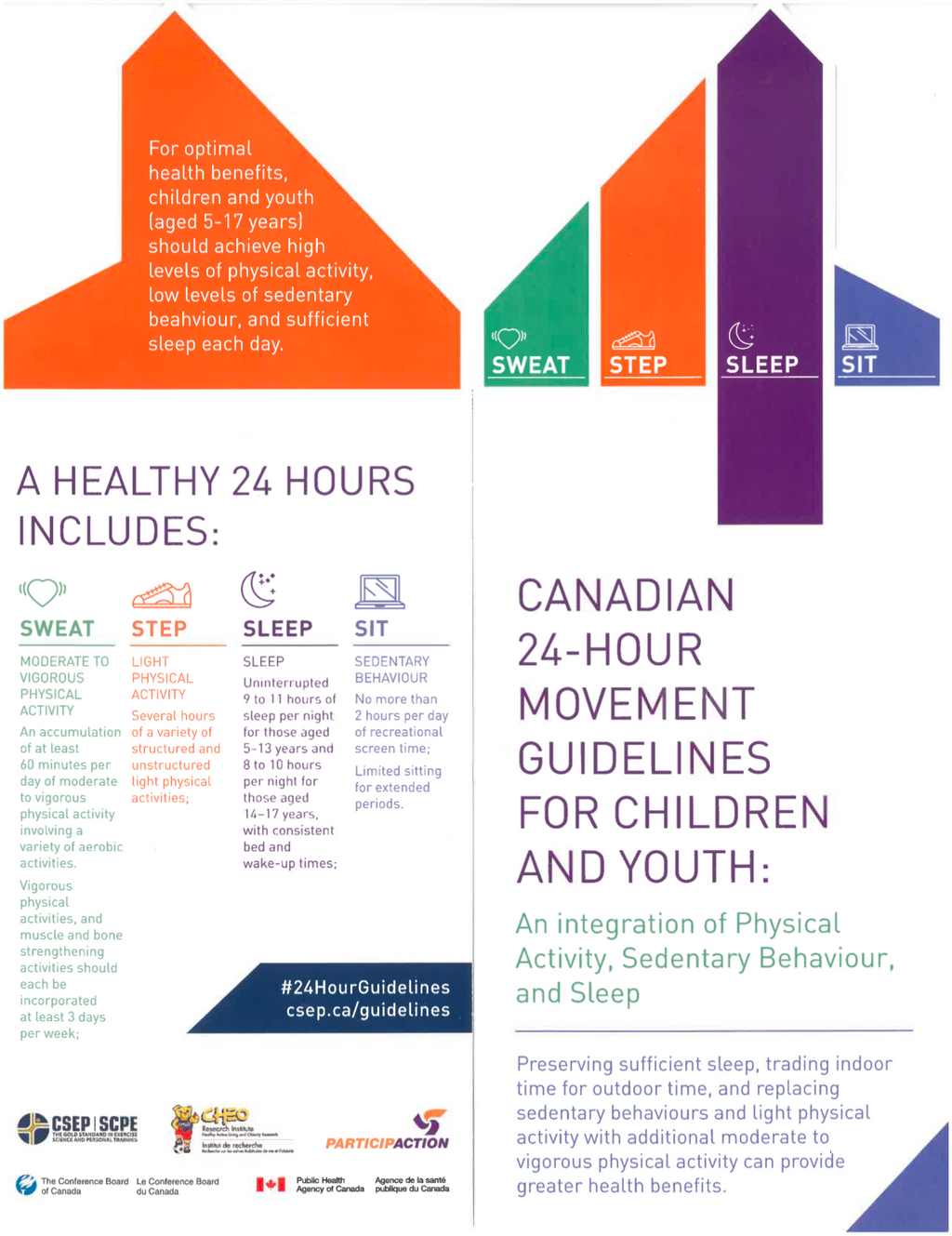 24-Hour Movement Guidelines for Children and Youth - Rack Card