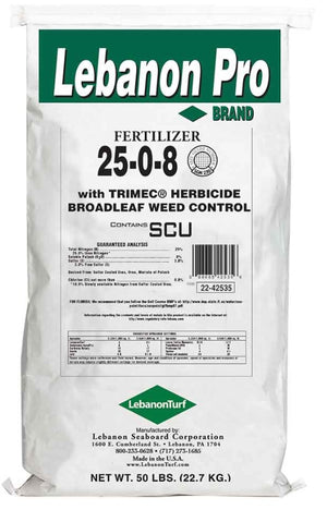 Lebanon Pro 25-0-8 40% SCU Trimec for Broadleaf Weed Control