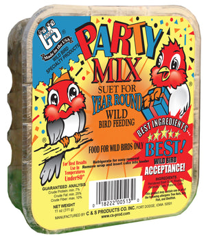Party Mix Suet for Year Round Wild Bird Feeding