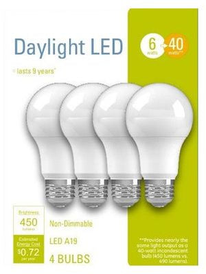 GE LED Light Bulbs, A19, Daylight, 450 Lumens, 6-Watt