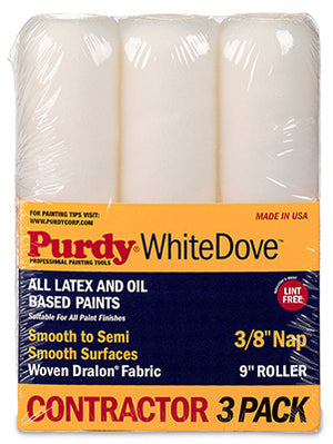 "Purdy 3PK White Dove 9"" 3/8"" Nap Roller Cover"