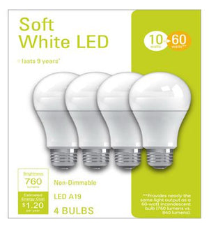 GE LED Light Bulbs, A19, Soft White, 760 Lumens, 10-Watt