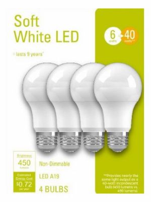 GE LED Light Bulbs, A19, Soft White, 450 Lumens, 6-Watt