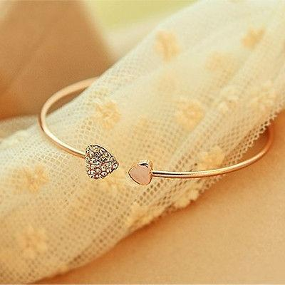 Image of Women Girl Simple Style Gold Tone Rhinestone Love Heart Bangle Cuff Bracelet